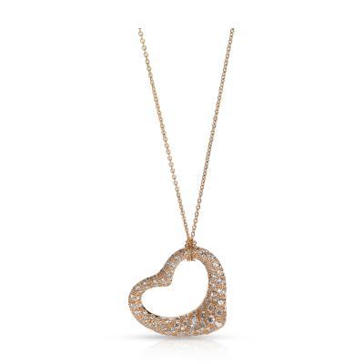 Tiffany and Co Tiffany Co Elsa Peretti Diamond Open Heart Necklace in 18K Rose Gold 2 CTW