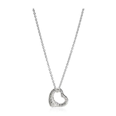 Tiffany and Co Tiffany Co Elsa Peretti Open Heart Diamond Necklace in Platinum 0 35 CTW