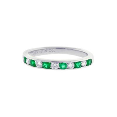 Tiffany and Co Tiffany Co Emerald and Diamond Band Ring