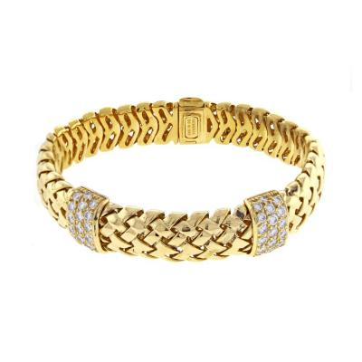 Tiffany and Co Tiffany Co Gold Woven Link Vannerie Diamond Bracelet