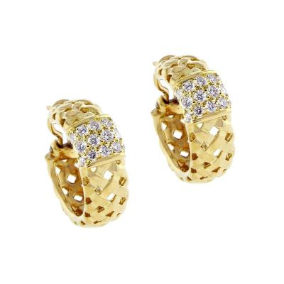 Tiffany and Co Tiffany Co Gold Woven Vannerie Diamond Earrings