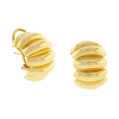 Tiffany and Co Tiffany Co Grooved Gold Hoop Earrings