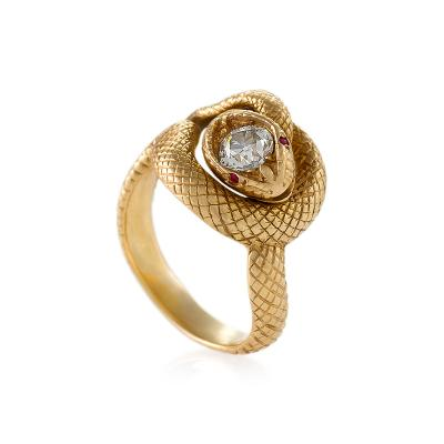 Tiffany and Co Tiffany Co Late 19th Century Diamond Ruby and Gold Serpent Ring