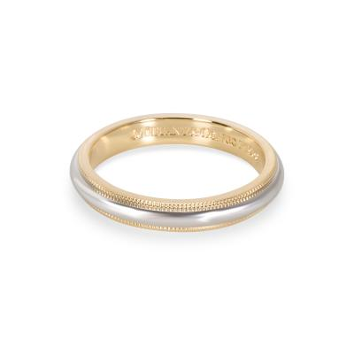 Tiffany and Co Tiffany Co Mens Milgrain Wedding Band in 18K Yellow Gold Platinum