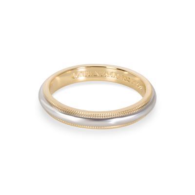 Tiffany and Co Tiffany Co Mens Milgrain Wedding Band in 18K Yellow Gold Platinum
