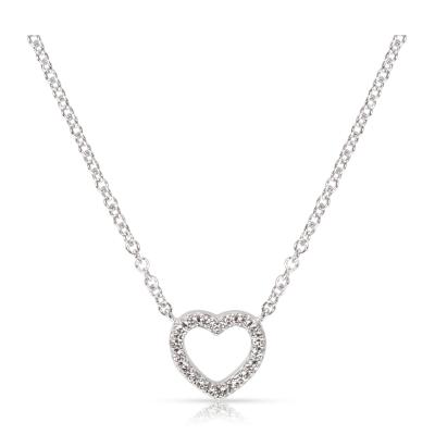 Tiffany and Co Tiffany Co Metro Mini Diamond Heart Necklace in 18K White gold 0 15 ctw