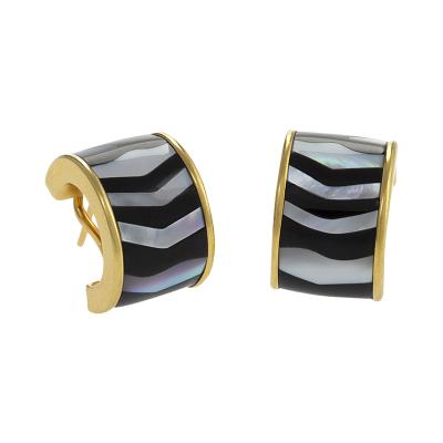 Tiffany and Co Tiffany Co Mother of Pearl Black Jade and Gold Hoop Earrings