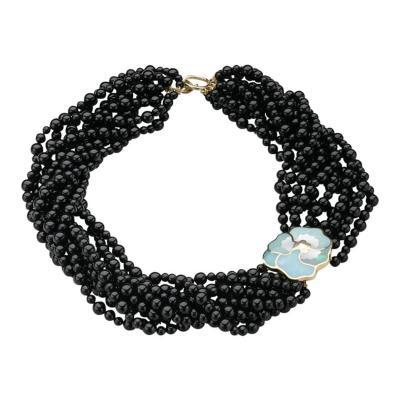Tiffany and Co Tiffany Co Multi Strand Onyx Beaded Necklace