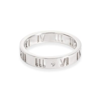 Tiffany and Co Tiffany Co Pierced Atlas Diamond Band in 18K White Gold 0 02 CTW