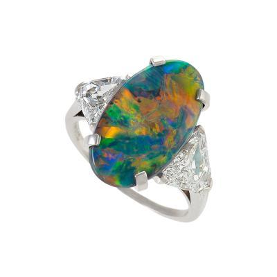 Tiffany and Co Tiffany Co Platinum Black Opal and Diamond Ring