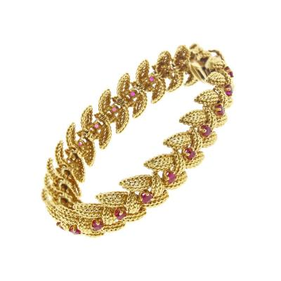 Tiffany and Co Tiffany Co Ruby Textured Gold 1950s Bracelet