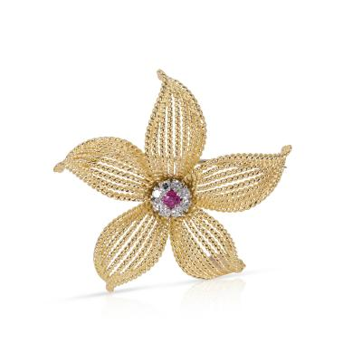 Tiffany and Co Tiffany Co Vintage Diamond and Ruby Flower Pin 0 25 ctw