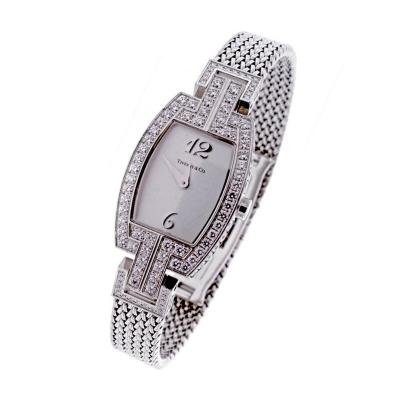 Tiffany and Co Tiffany Co ladies White Gold Diamonds Tonneau quartz Wristwatch