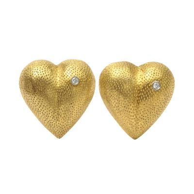 Tiffany and Co Vintage Tiffany Heart Form Stippled 18 kt Gold and Diamond Clip Earrings