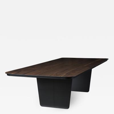 Tokio Furniture Lighting Modern Carbon Claro Table with Walnut Top and thin Carbon Fiber Legs