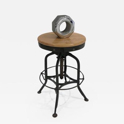 Toledo Metal Furniture Co Toledo Stool Adjustable Swivel Wood and Steel Industrial Signed USA 1950s