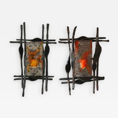 Tom Ahlstr m Hans Ehrich Pair of Brutalist Sconces Iron Murano Glass by Ahlstrom and Helrich 1970s