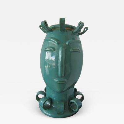 Tozai American Modern Turquoise Glazed Ceramic Covered Vessel of A Stylized Lady Tozai