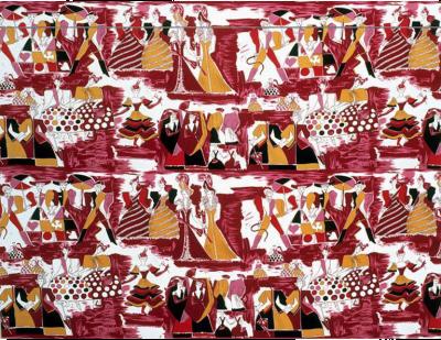 Tre 80 Gio Ponti Designed Balletto alla Scala Fabric by Tre 80 in burgundy