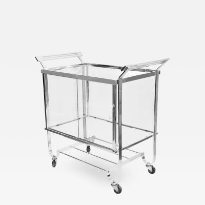 Treitel Gratz Art Deco Chrome Glass Bar Cart 1930s Treitel Gratz