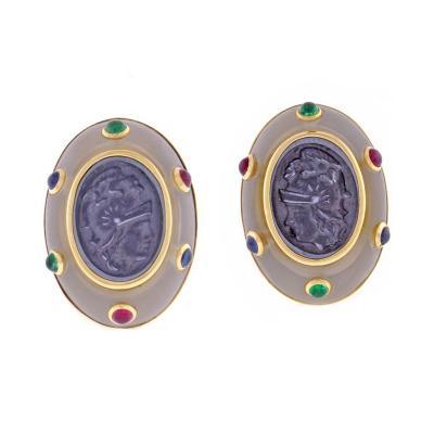 Trianon Trianon Intaglio Cabochon Gemstone Earrings
