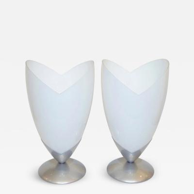Tronconi 1970s Italian Pair of Satin Nickel White Glass Organic Tulip Lamps by Tronconi