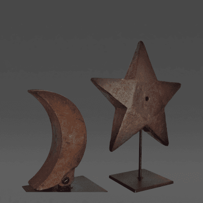 U S Wind and Pump Co Star Windmill Quarter Moon Weights c 1880 1920