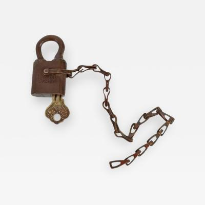 United States Navy Antique Brass Lock for USN with Key and Chain