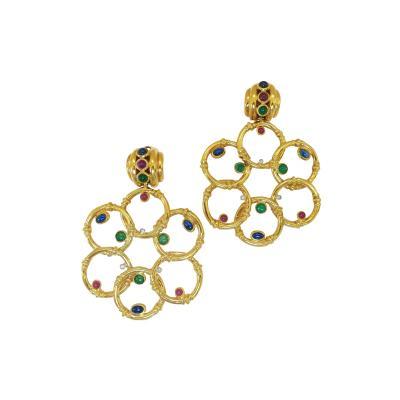 UnoAErre Massive Uno A Erre Italian Gemstone Earrings 1980s