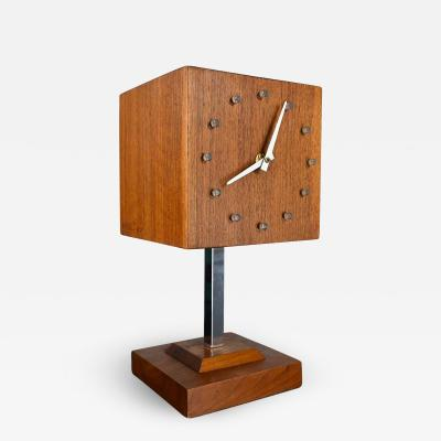 V H Woolums MCM walnut chrome cube clock lamp on stand by v h woolums