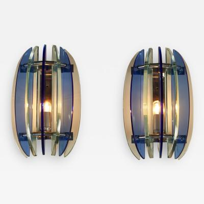 VECA Pair of 1970s Italian chrome and blue and greenglass wall lights by Veca