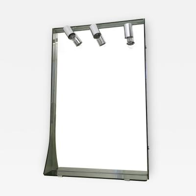 VECA Smoked Glass and Chrome Plated Wall Mirror by Veca Italy 1970s
