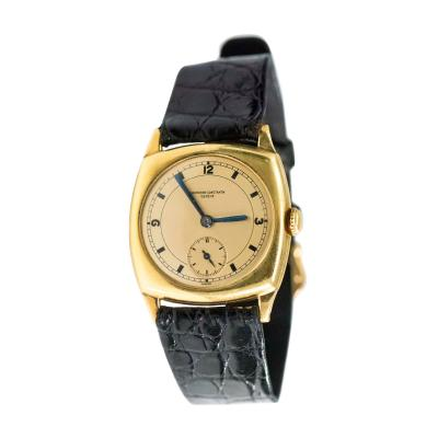 Vacheron Constantin 18 Karat Yellow Gold Vacheron Constantin Sector Dial Officers Cushion Wristwatch