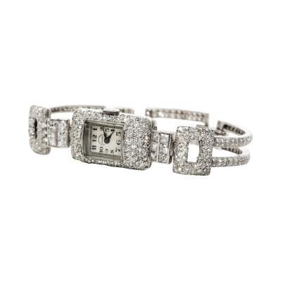 Vacheron Constantin 1920s Vacheron Constantin Platinum 20 Carat Diamond Cuff Bracelet Watch