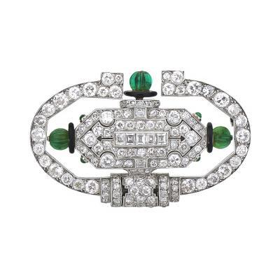 Vacheron Constantin Art Deco Lacloche Platinum Diamond Emerald Brooch Watch