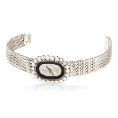 Vacheron Constantin Rare 1940s Special Order Vacheron Constantin Tuxedo Onyx Pave Diamond Dial Watch