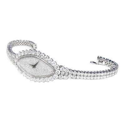Vacheron Constantin Rare 30carat 42mm Vacheron Constantin White Gold Diamond Lozenge Wristwatch