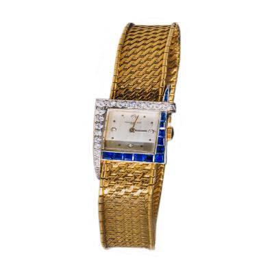 Vacheron Constantin Unique 1960s 18Kt Vacheron Constantin Asymmetrical Sapphire Diamond Wristwatch