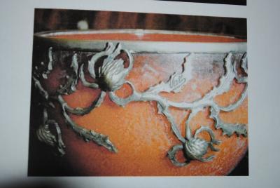 Val Cie Art Nouveau signed Val Cie Bronze and Art Glass Bowl