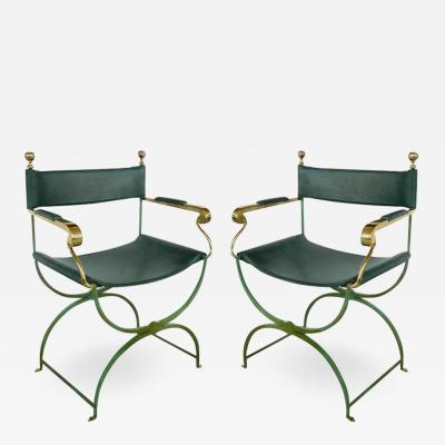 Valenti Spain Pair of Brass Directors Chairs by Valenti Spain
