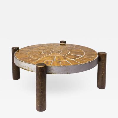 Vallarius Vallauris Ceramic Coffee Table circa 1960 France