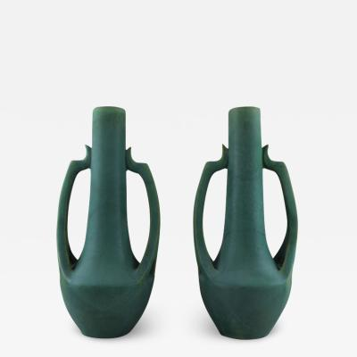 Vallauris A pair of large French vases in ceramics hand painted in green shades