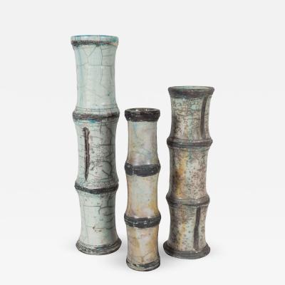 Vallauris Three Ceramic Bamboo Patterned Vases Vallauris Raku