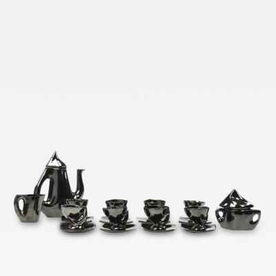 Vallauris Vintage Mid Century French Vallauris Tea Service in Black