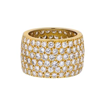 Van Cleef Arpels 18K YELLOW GOLD 6 75 CARAT PAVE MULTI ROW DIAMOND CLUSTER RING