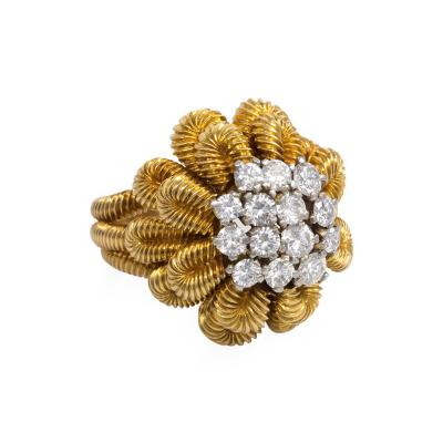 Van Cleef Arpels 1950s Van Cleef Arpels Gold and Diamond Floral Cocktail Ring