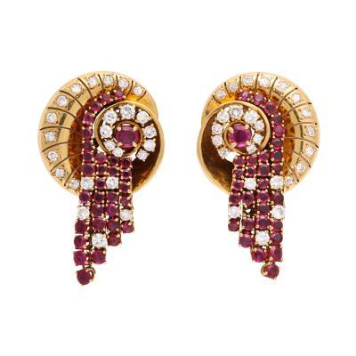Van Cleef Arpels 1960s Ruby and Diamond Earrings by Van Cleef Arpels