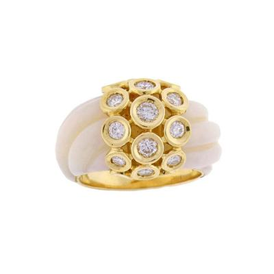 Van Cleef Arpels 1970s Van Cleef Arpels Angel Skin Coral Diamond Gold Ring