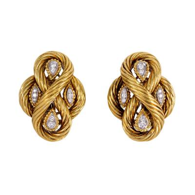 Van Cleef Arpels 1970s Van Cleef Arpels Gold and Diamond Earrings