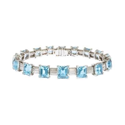 Van Cleef Arpels Aqua Diamond Bracelet in Platinum by Van Cleef Arpels Circa 1950s